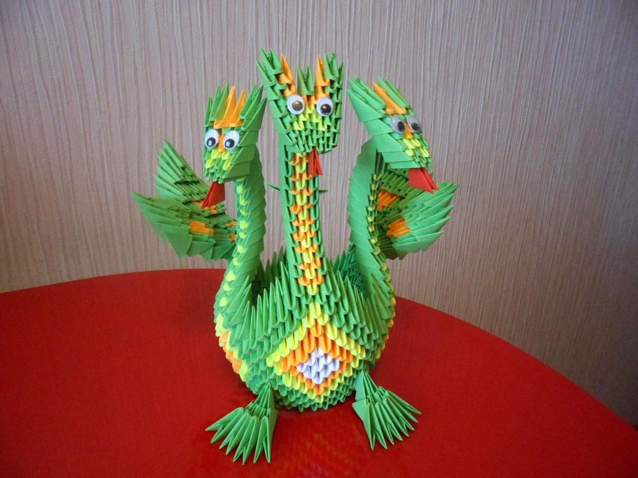 модульные оригами из бумаги лебедь, сова схема