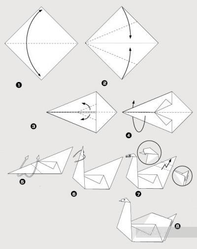 оригами из бумаги белый лебедь