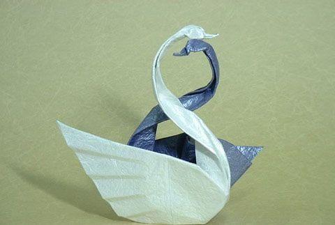 оригами двойной лебедь схема