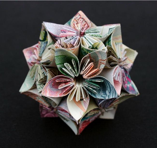 оригами из денег цветок