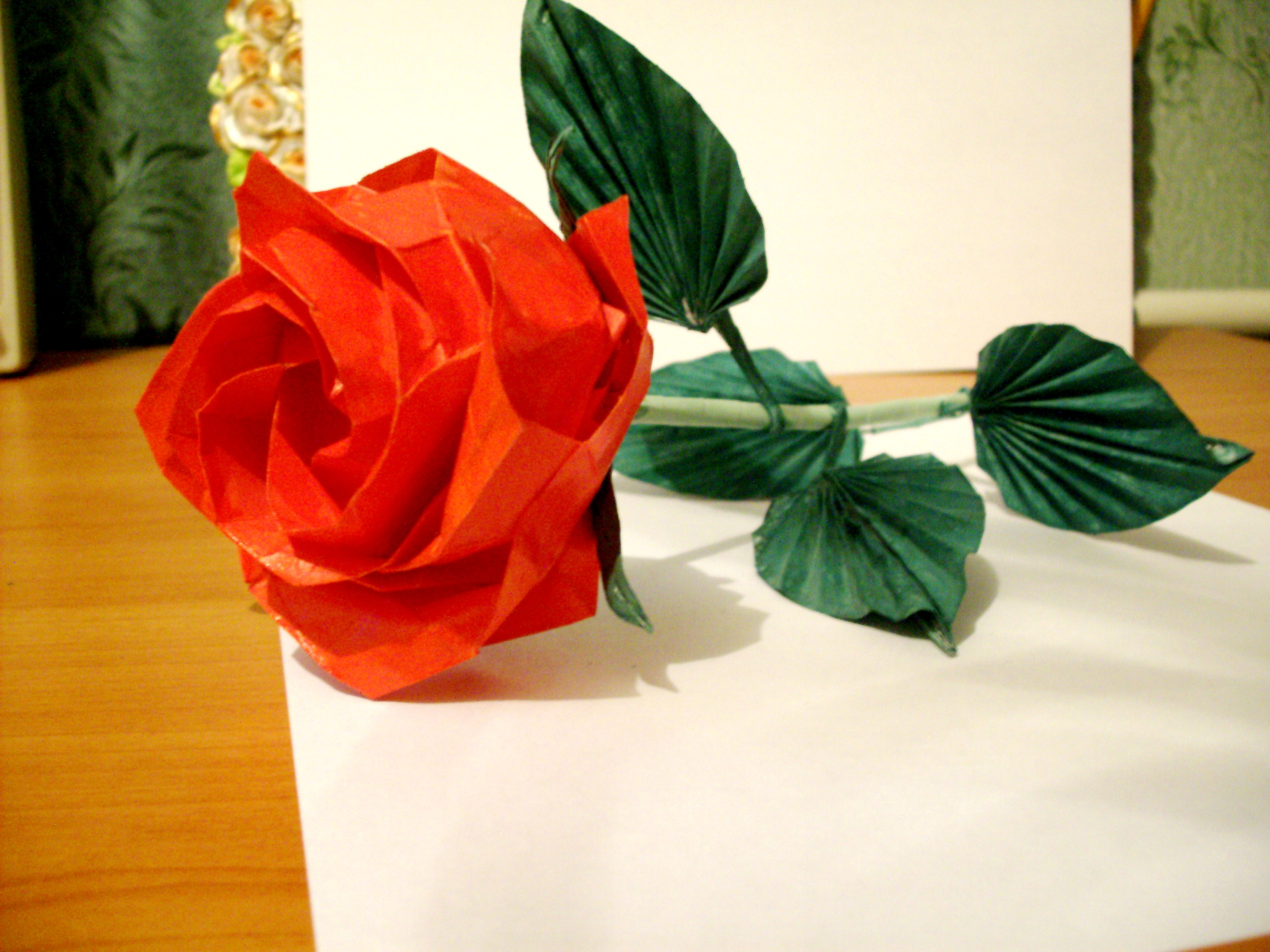 самая простая схема на цветок оригами роза