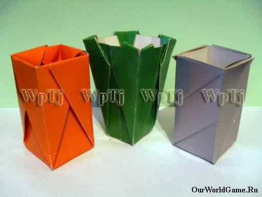 оригами из бумаги ваза видео